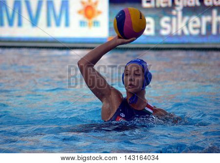 Budapest, Hungary - Jul 16, 2014. Hungary's	SZUCS Gabriella (HUN, 5) with the ball. The Waterpolo European Championship was held in Alfred Hajos Swimming Centre in 2014.