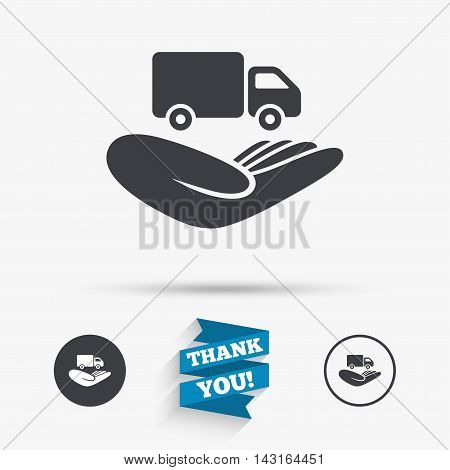 Company vehicles insurance sign icon. Hand holds delivery truck. Protection vehicle from damage and accidents. Flat icons. Buttons with icons. Thank you ribbon. Vector