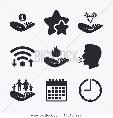 Helping hands icons. Financial money savings, family life insurance symbols. Diamond brilliant sign. Fire protection. Wifi internet, favorite stars, calendar and clock. Talking head. Vector