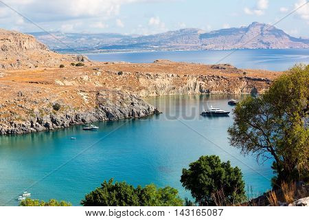 The view of Rhodes Greece. The sea ans islands