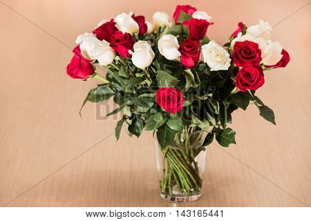 The Bouquet of white and red roses