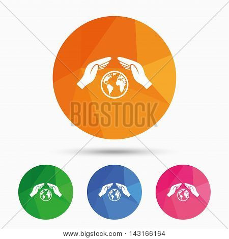 Worldwide insurance sign icon. Hands protect cover symbol. Travel insurance. World peace. Save planet. Triangular low poly button with flat icon. Vector