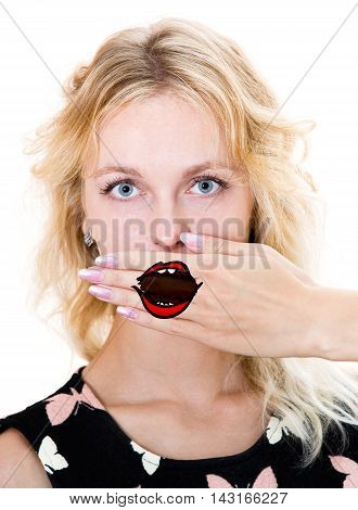 Girl Cover Her Mouth With Hand.
