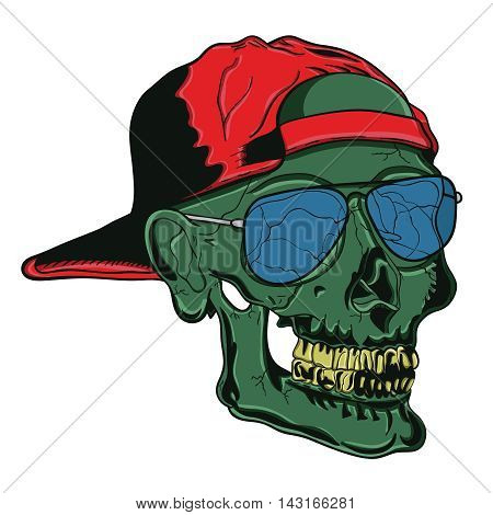 Illustration of a cool skull with sunglasses and hat flipped backwards