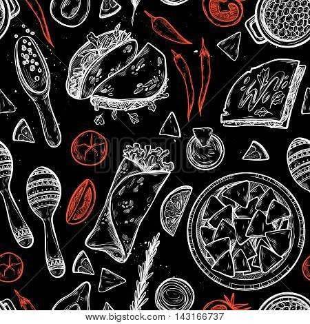 Hand Drawn Vector Background - Mexican Food (tacos, Nachos, Burritos, Chili Pepper, Avocado, Sauce,