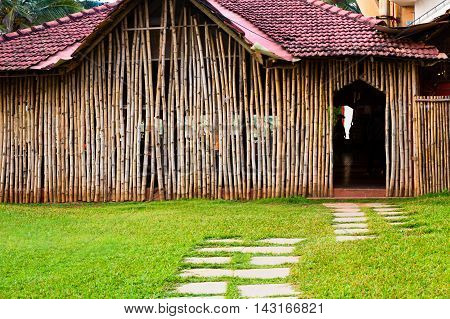 Wall Of Bungalow Made Of Bamboo