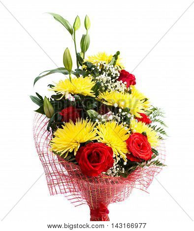 Bouquet From Roses And Chrysanthemums On  White Background
