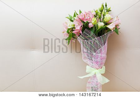 Bouquet Of Pink And Green Flowers