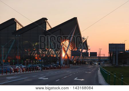 Gdansk Poland May 09 2016: Modern building of Lech Valesa airport in Gdansk at sunset time