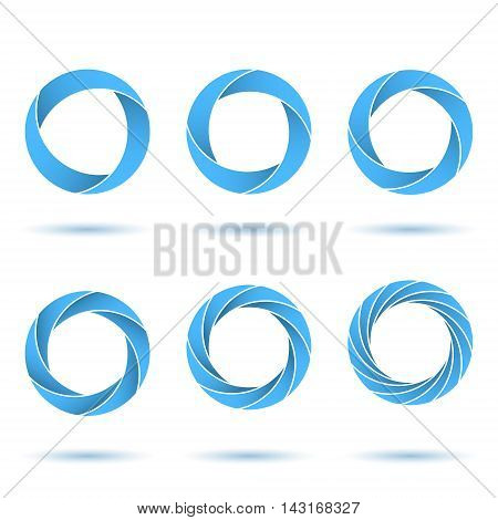 Segmented circles abstract figures o letter signs 2d illustration vector eps 10