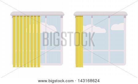 Windows with open and halfopen green jalousie. White clouds. Cartoon vector flat-style concept illustration