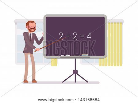 Male mathematic teacher is teaching maths on the blackboard against windows. Cartoon vector flat-style concept illustration