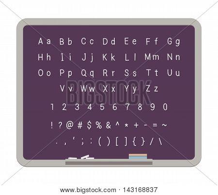 ABC. Latin alphabet on the blackboard. Digits and special symbols. Cartoon vector flat-style concept illustration
