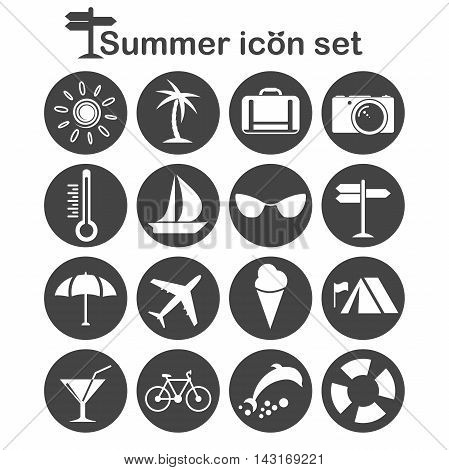 Summer icons set 16 travel signs 2d illustration vector eps 8