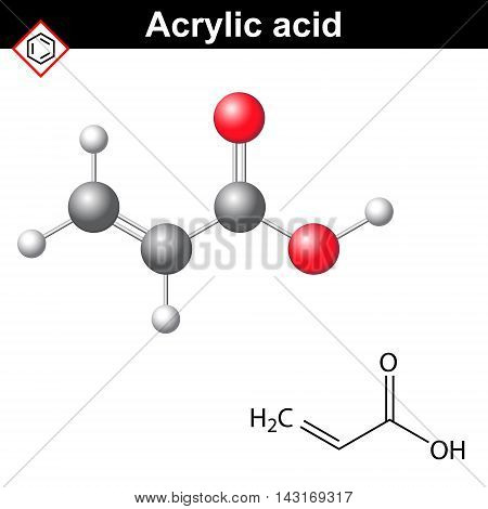 Acrylic acid molecule 2d and 3d illustration of molecular structure vector on white background eps 8