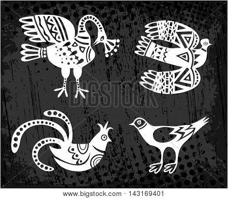 Hand draw, original, collection of birds Vector