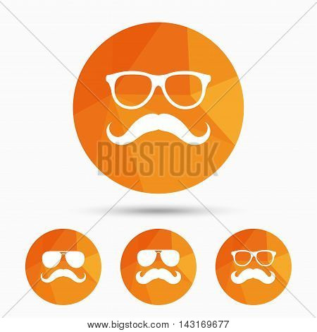 Mustache and Glasses icons. Hipster symbols. Facial hair signs. Triangular low poly buttons with shadow. Vector