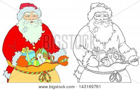 Hand drawing for coloring book, Santa Claus page. Grandfather with a sack of gifts hand out candy.