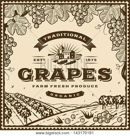 Vintage brown grapes label