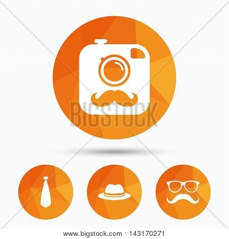 Hipster photo camera with mustache icon. Glasses and tie symbols. Classic hat headdress sign. Triangular low poly buttons with shadow. Vector