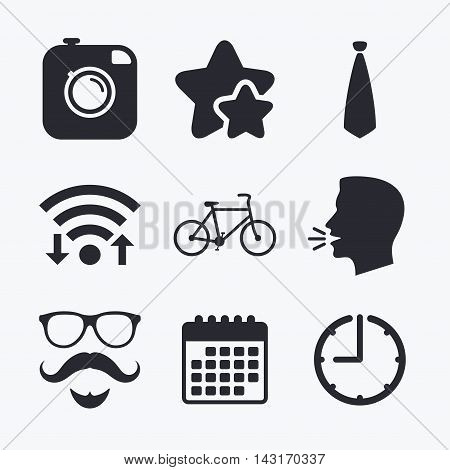 Hipster photo camera. Mustache with beard icon. Glasses and tie symbols. Bicycle sign. Wifi internet, favorite stars, calendar and clock. Talking head. Vector