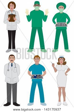 Team of medical professionals in various activities