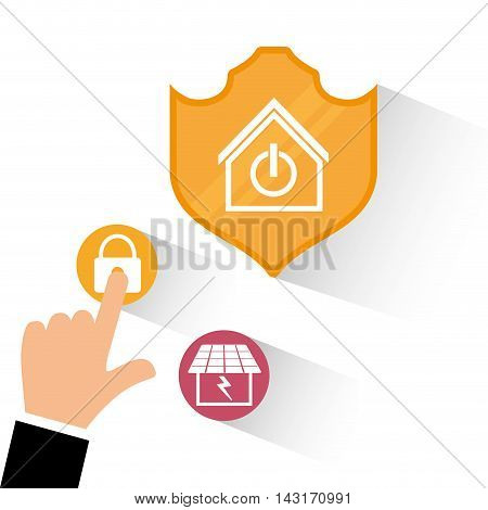 shield hand padlock solar panel smart house home technology app icon set. Flat and Colorful illustration. Vector illustration