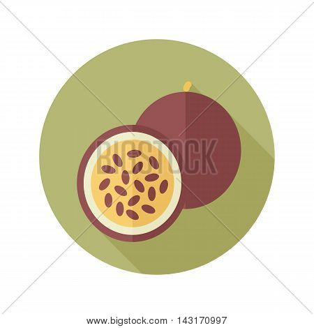 Passionfruit flat icon. Tropical fruit. Vector illustration eps 10