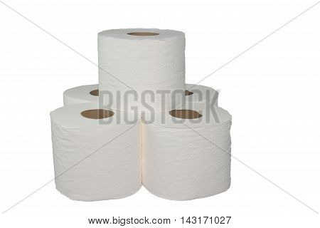 Toilet paper isolated on a white background.