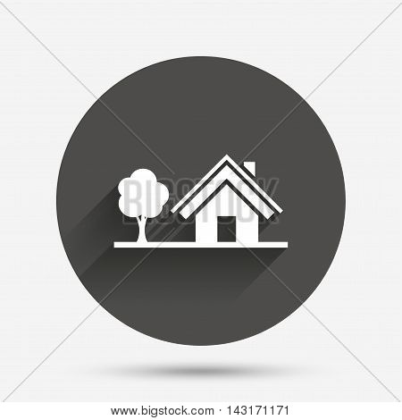 Home sign icon. House with tree symbol. Circle flat button with shadow. Vector