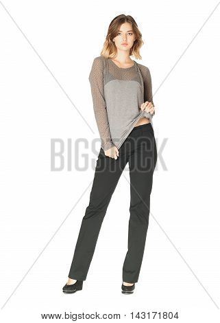 Pretty Young Girl Wearing Black Trousers Isolated