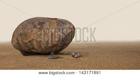 Big cobblestone standing in the deserted wilderness.