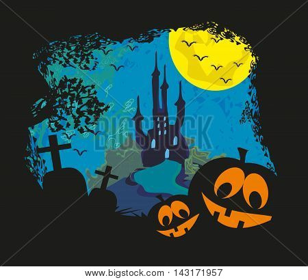Halloween landscape with castle and cemetery  , vector illustration