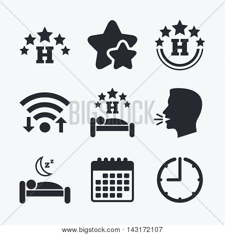 Five stars hotel icons. Travel rest place symbols. Human sleep in bed sign. Wifi internet, favorite stars, calendar and clock. Talking head. Vector