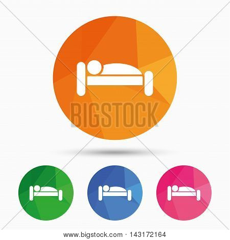 Human in bed sign icon. Travel rest place. Sleeper symbol. Triangular low poly button with flat icon. Vector
