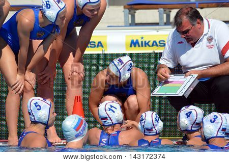 Budapest, Hungary - Jul 16, 2014. Russia's NAKORYAKOV Mikhail head coach talking about the tactics. The Waterpolo European Championship was held in Alfred Hajos Swimming Centre in 2014.