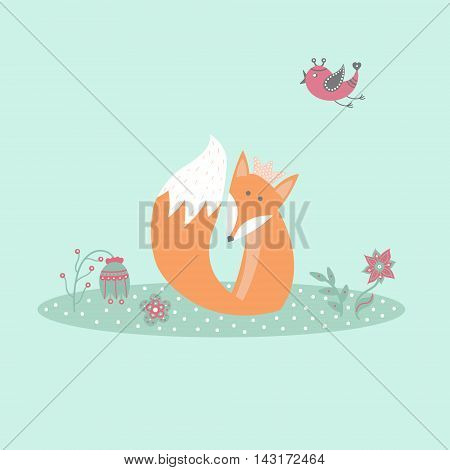 Cute fox sitting on lawn in forest with bird and flowers in cartoon style. Animal symbol. Perfect for design cards invitations birthdays and weddings