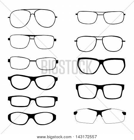 Set of different eyeglasses and sunglasses silhouettes isolated in white background.