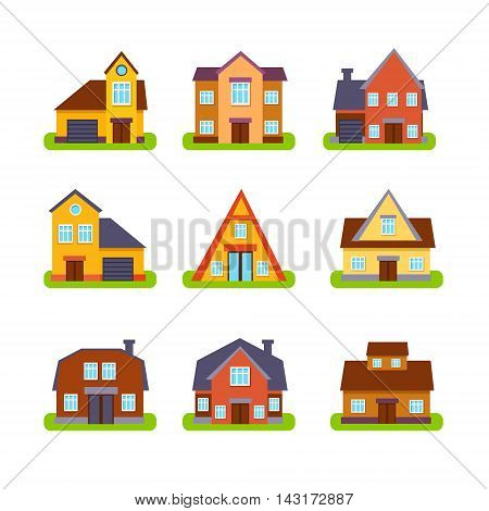 Suburban Real Estate Houses Set In Primitive Geometric Flat Vector Design Isolated On White Background