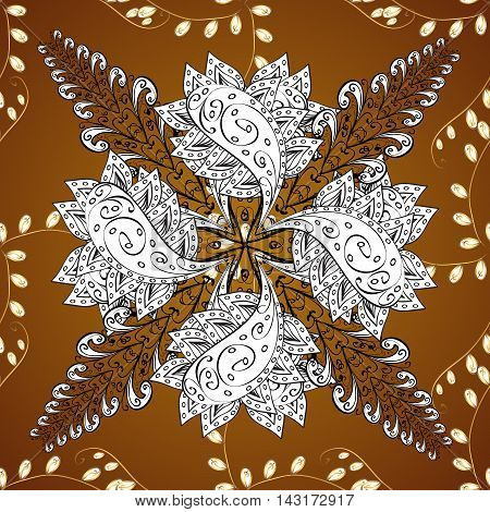 seamless pattern on brown background with golden floral golden elements.
