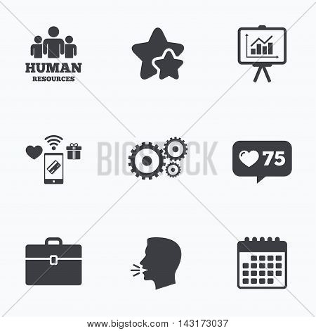 Human resources and Business icons. Presentation board with charts signs. Case and gear symbols. Flat talking head, calendar icons. Stars, like counter icons. Vector
