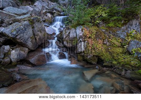 A happy little stream flows over rocks