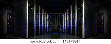 symmetrical futuristic modern server room in data center
