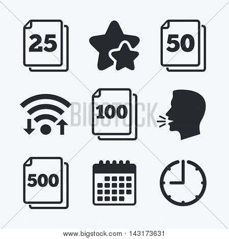 In pack sheets icons. Quantity per package symbols. 25, 50, 100 and 500 paper units in the pack signs. Wifi internet, favorite stars, calendar and clock. Talking head. Vector