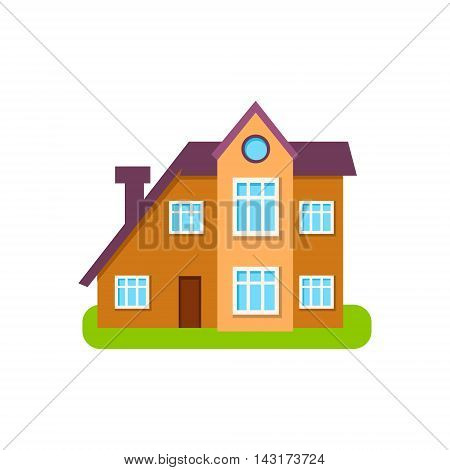 Modern Style Suburban House Exterior Design Primitive Geometric Flat Vector Drawing Isolated On White Background