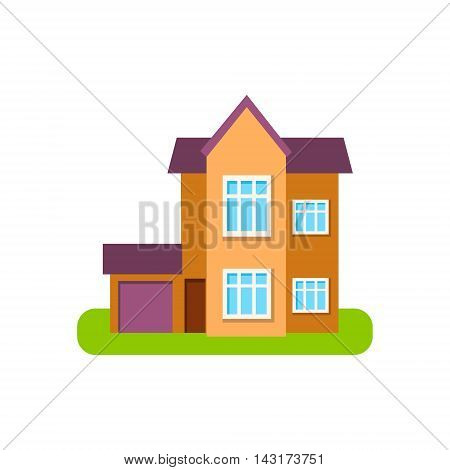 Modern Style Suburban House Exterior Design With Garage Primitive Geometric Flat Vector Drawing Isolated On White Background