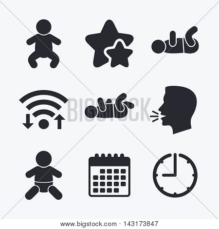 Newborn icons. Baby infant or toddler symbols. Child silhouette. Wifi internet, favorite stars, calendar and clock. Talking head. Vector