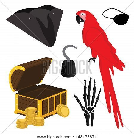 Vector illustration pirate icon set with pirate hook pirate hat pirate eye patch red parrot hand bones and treasure chest