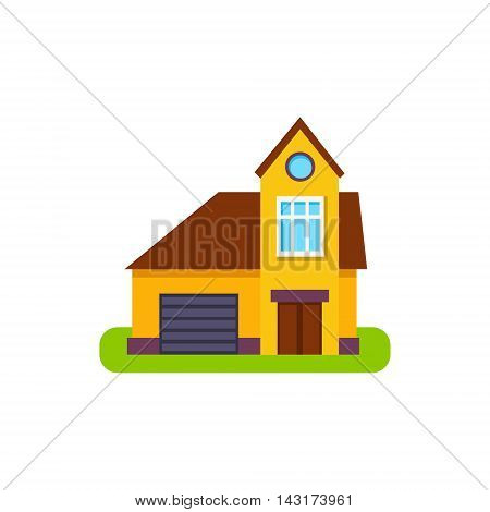 One Window Suburban House Exterior Design With Garage Primitive Geometric Flat Vector Drawing Isolated On White Background