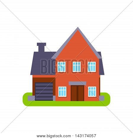 Terracota Suburban House Exterior Design With Garage Primitive Geometric Flat Vector Drawing Isolated On White Background